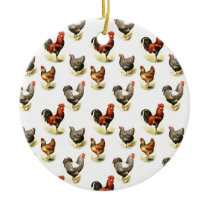 Country Chicken Pattern Ceramic Ornament