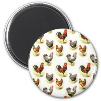 Country Chicken Pattern Magnet