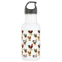 Country Chicken Pattern Water Bottle