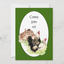 Country Chicken & Rooster Barn Custom Farm Invite