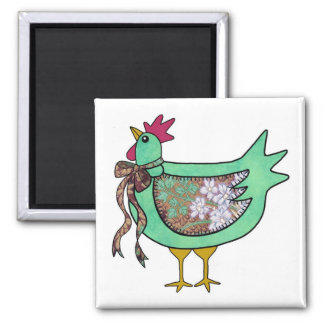 Country Chicken with stitched wing and ribbon Fridge Magnets