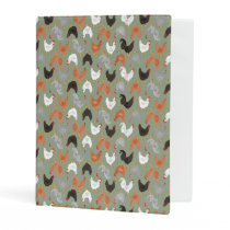 Country Chickens and Roosters on Green Mini Binder