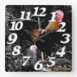 Country Chickens Wall Clock