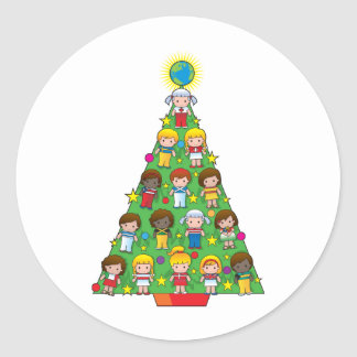 Country Children Christmas Tree Classic Round Sticker