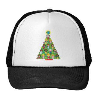 Country Children Christmas Tree Mesh Hats