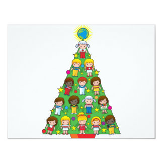 Country Children Christmas Tree 4.25x5.5 Paper Invitation Card