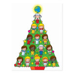 Country Children Christmas Tree Postcard