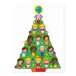 Country Children Christmas Tree Postcard