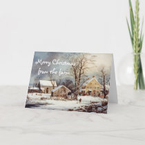 Country Christmas at the Farm Vintage Card