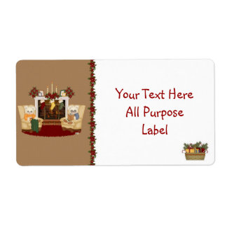 Country Christmas Bears All Purpose Label