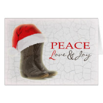Country Christmas Card Cowboy Boots and Santa Hat