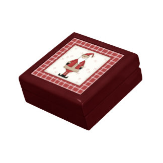 Country Christmas Cartoon Angel with Plaid Border Jewelry Boxes