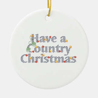 Country Christmas Ceramic Ornament