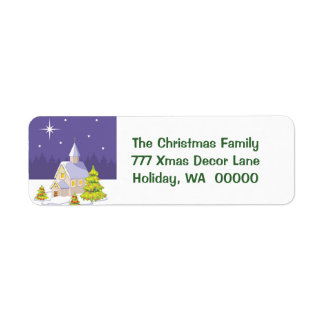 Country Christmas Chapel Return Address Stickers