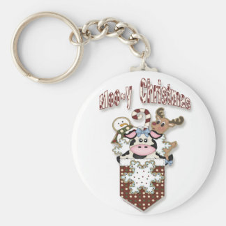 Country Christmas Cow Pocket Keychain