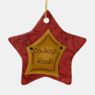 Country Christmas Cowboys Rock Star Ornament