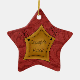 Country Christmas Cowgirls Rock Star Double-Sided Star Ceramic Christmas Ornament