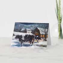 COUNTRY CHRISTMAS: COWS: SILENT NIGHT HOLIDAY CARD