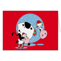 Country Christmas Cows With Santa Hats Greeting Card