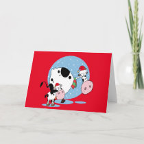 Country Christmas Cows With Santa Hats Greeting Holiday Card