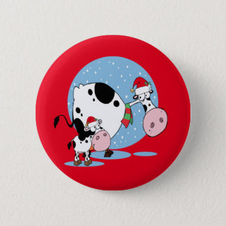 Country Christmas Cows With Santa Hats Pinback Button