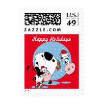 Country Christmas Cows With Santa Hats Postage