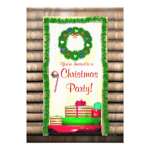 Country Christmas Door Party Personalized Announcement
