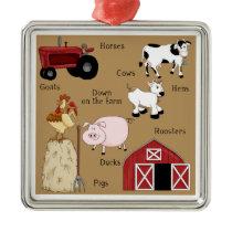 Country Christmas Farm Animals Metal Ornament