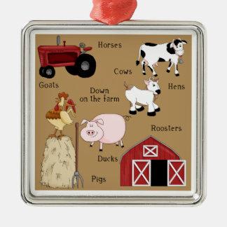 Country Christmas Farm Animals Square Metal Christmas Ornament