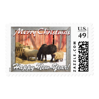 Country Christmas! Farm Horses and Sheep! Postage Stamp