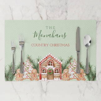Country Christmas Gingerbread House Paper Placemat