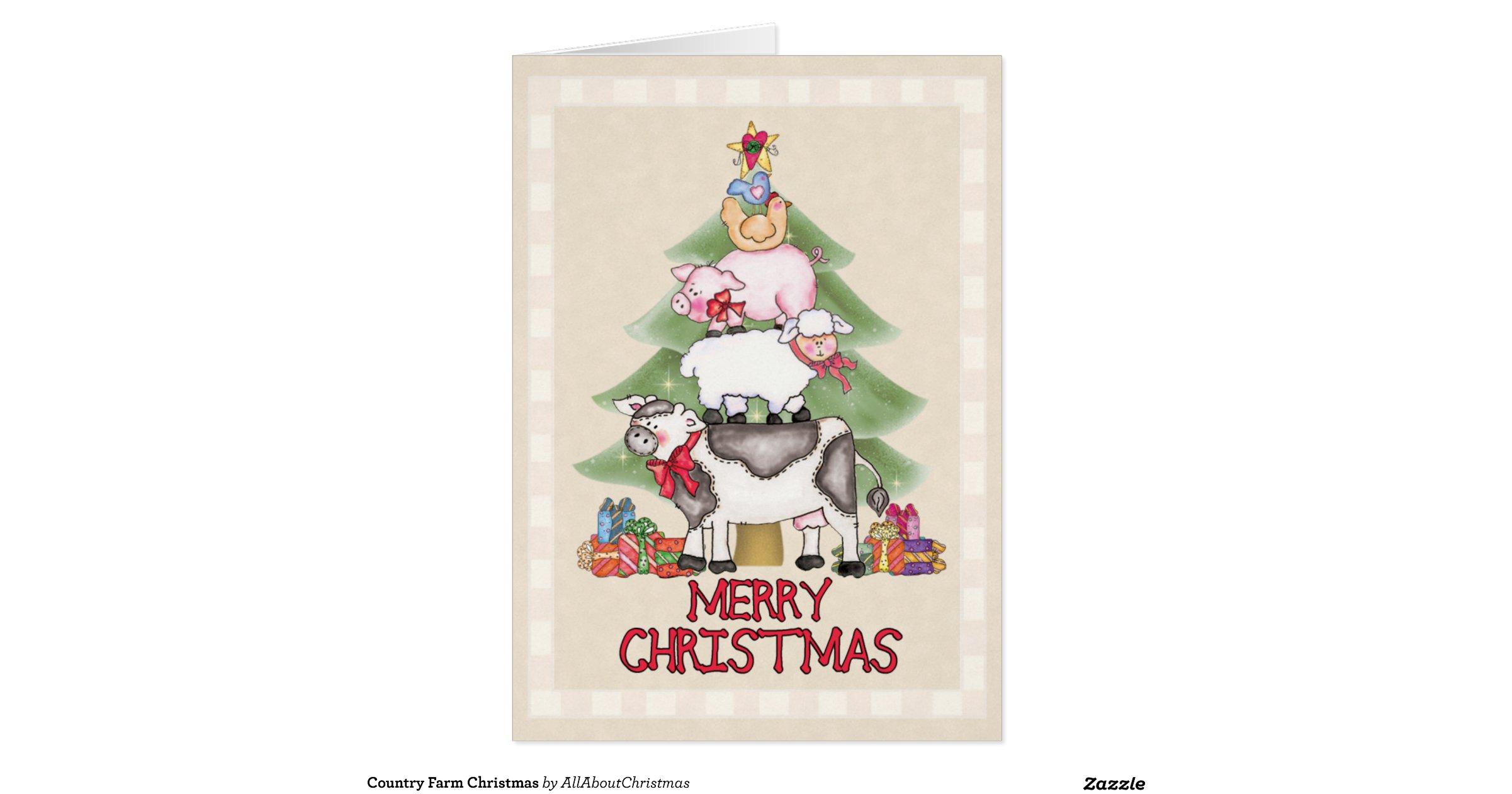 Country christmas greeting card r81ac5c0f8d314c10b978ed13a92bbfcd