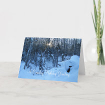 Country  Christmas Greeting Winter Sunrise Holiday Card