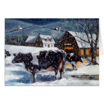 COUNTRY CHRISTMAS: Holstein COWS: SNOWY NIGHT Card