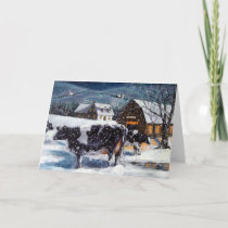 COUNTRY CHRISTMAS: Holstein COWS: SNOWY NIGHT Holiday Card