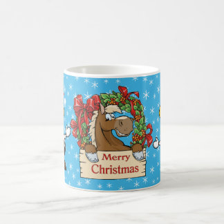 Country Christmas Horse With Wreath And Cows Coffee Mug