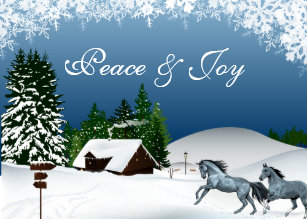 Country Christmas Horses In The Snow Peace And Joy Holiday Card