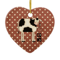 Country Christmas I Love Cows Ceramic Ornament