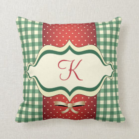 Country Christmas Monogrammed Pillow