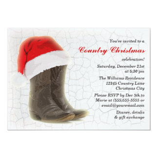 """Country Christmas Party Invite Cowboy Boots 5"""" X 7"""" Invitation Card"""