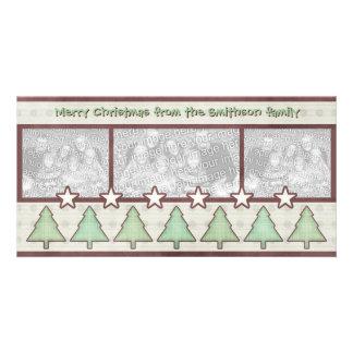 Country Christmas Plaid Trees Stars Photo Card