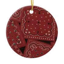 Country Christmas Red Bandana Ceramic Ornament