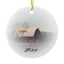 Country Christmas Red Barn Dated Ceramic Ornament