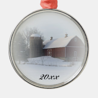 Country Christmas Red Barn Dated Ornament