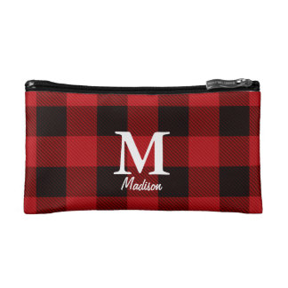 country Christmas Red buffalo plaid lumberjack Makeup Bag