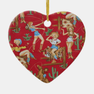 Country Christmas Retro Cowgirls Double-Sided Heart Ceramic Christmas Ornament