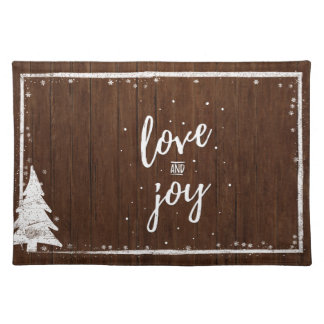 Country Christmas | Rustic Wood Snow Love & Joy Cloth Placemat