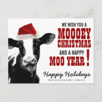 Country Christmas Santa Cow Holiday Postcard