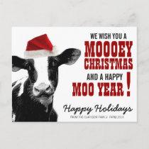 Country Christmas Santa Cow Holiday Postcard