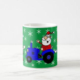 Country Christmas Santa On Tractor And Cows Coffee Mug